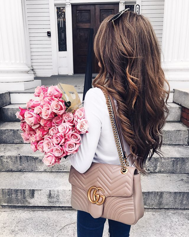 love the hair. and Gucci Marmont handbag