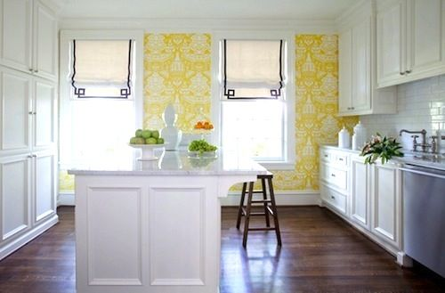 Yellow and White Kitchen with Subway Tiles | HAMPTONS STYLE