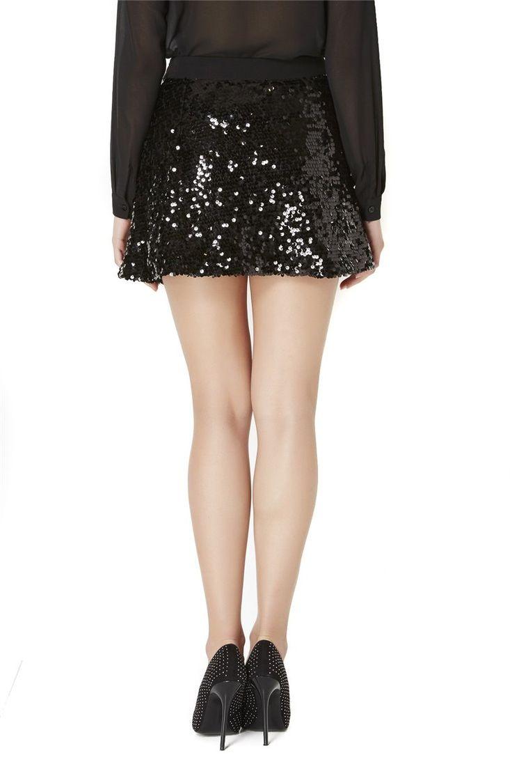 Almagores , Black Miniskirt With Sequins Art 541AL70754