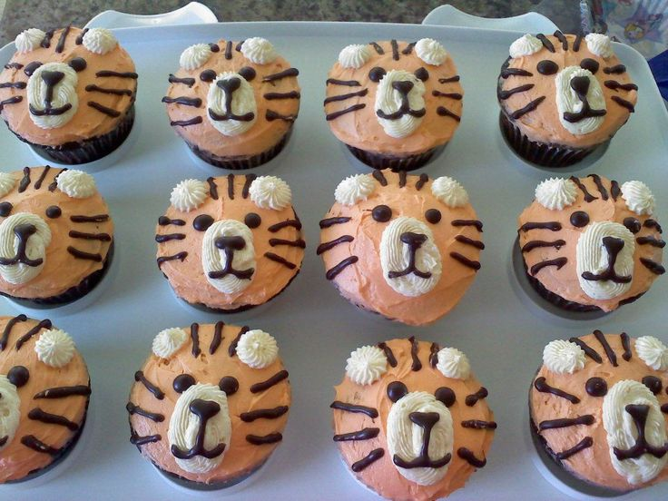 Tiger cupcakes for a princess & tiger themed birthday.