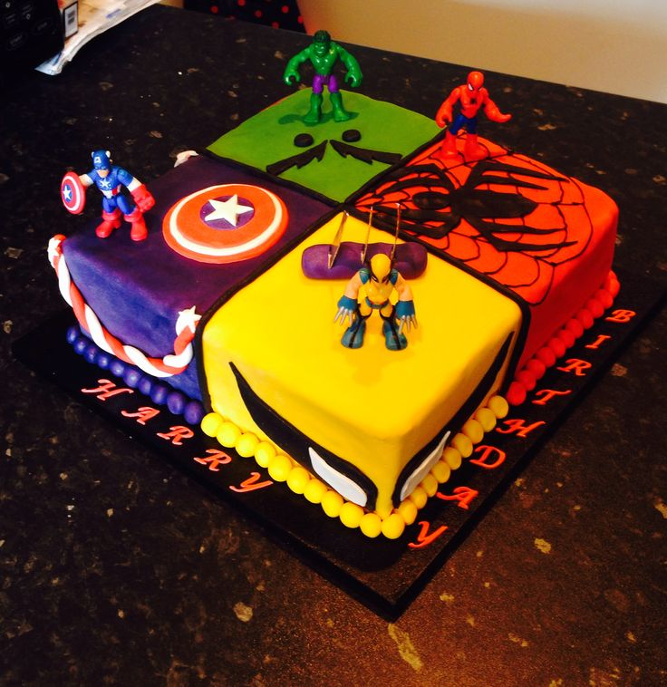Harry's 6th birthday cake. Boys birthday cake. Marvel superhero cake. Wolverine, the hulk, spiderman and captain America.