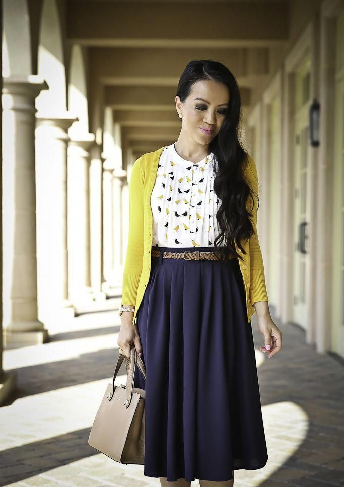 modest work outfit navy pleated skirt mustard cardigan bow pumps, stylish petite…