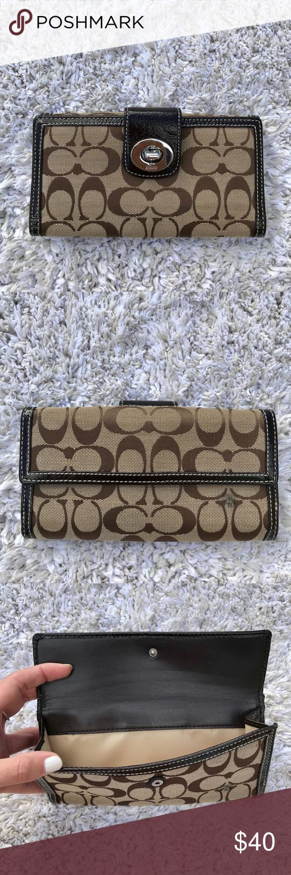Coach long wallet Used wallet with lots of space. Has a stain on the back that will probably come off with soap/water or a mild cleaner. I have never tried. Price will reflect blemish! Otherwise a super great all around wallet! Coach Bags Wallets