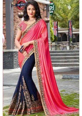 georgette rose et couleur bleu marine et sari de soie, -  193,00 €,  #Sariindienmariage  #Sariindien2017  #Robeindiennemariage  #Tuniqueindiennefemme  #Tenueindienne  #Shopkund