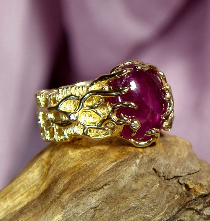 "14K Gold Ring ""Rukmini"" with Ruby and 4 diamonds MADE TO ORDER ruby ring gold ring gold jewelry"