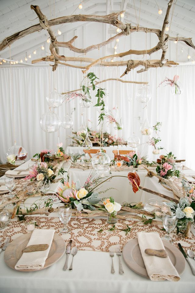 Driftwood-themed wedding reception | Kristyn Hogan Photography | see more on: http://burnettsboards.com/2014/09/rustic-refined-driftwood-wedding-inspiration/