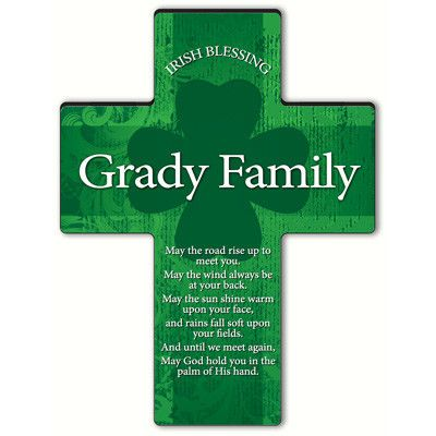 Irish Blessing Shamrock Cross - Old Irish Blessing 2. Wish them showers of good luck and God's grace with our Irish Blessings Personalized Shamrock Cross. Adorned with the name of the recipient and one of eight beautiful Irish prayers, this cross features an ornate green background printed on strong composite material with the famous Irish symbol of good luck in the center. Stand included for desk or counter display. Select blessing and personalize with name of up to 20 characters.This item…