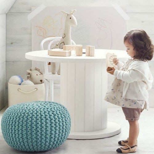 mommo design: RECYCLE AND DECOR - A cable spool turned into a table for the playroom