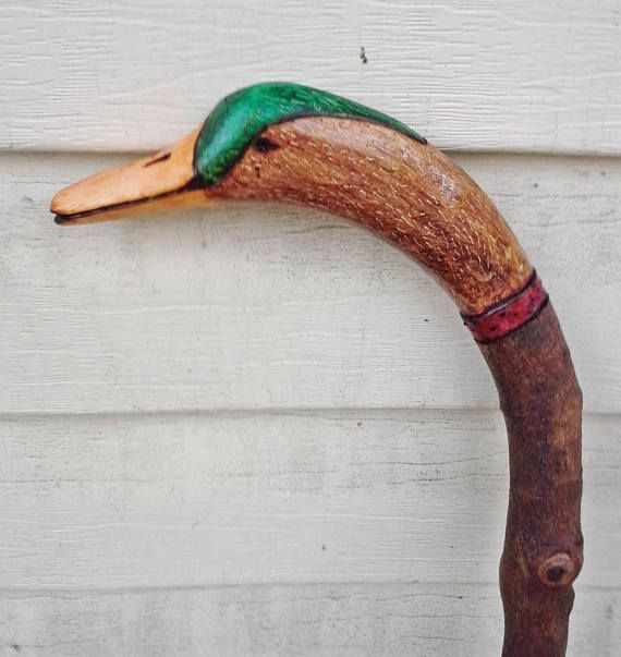 Hand carved Walking Stick Cane Duck Head Solid Maple 38 in