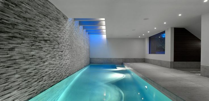 swimming pool Minimalist Lap Pool Design With Rectangle Stone Wall Decoration How to build lap pools into your house