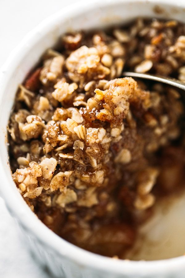 Five Minute Single Serving Apple Crisp - topped with a YUMMY wholesome crumble.
