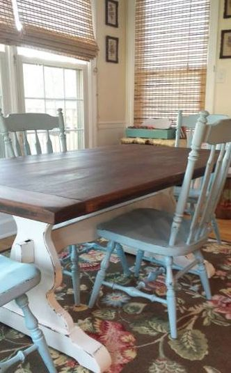 Farmhouse trestle table.  Vintage Ethan Allen refinished by The Tattered Rabbit. www.thetatteredrabbit.com