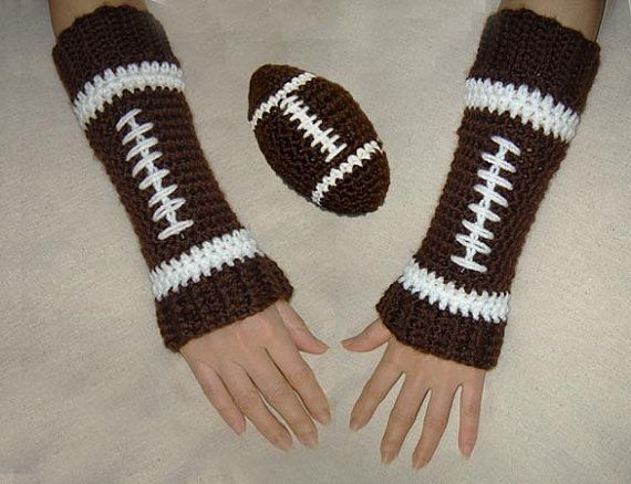 Crochet pattern: Arm warmers, Leg warmers, Toy football.. Minus the football stripe in the middle, and I'll make them :)
