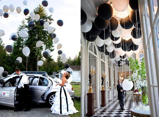 modern black & white wedding with balloons... Fill getaway car with balloons. As you make your escape, the balloons will fly out in celebration- I want someone to do this for my wedding!! Future bridesmaids- take note! :)