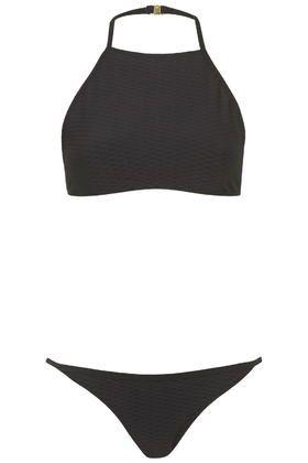Textured High Neck Bikini Set