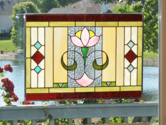 Arts and crafts stained glass window panel flower stained glass panel