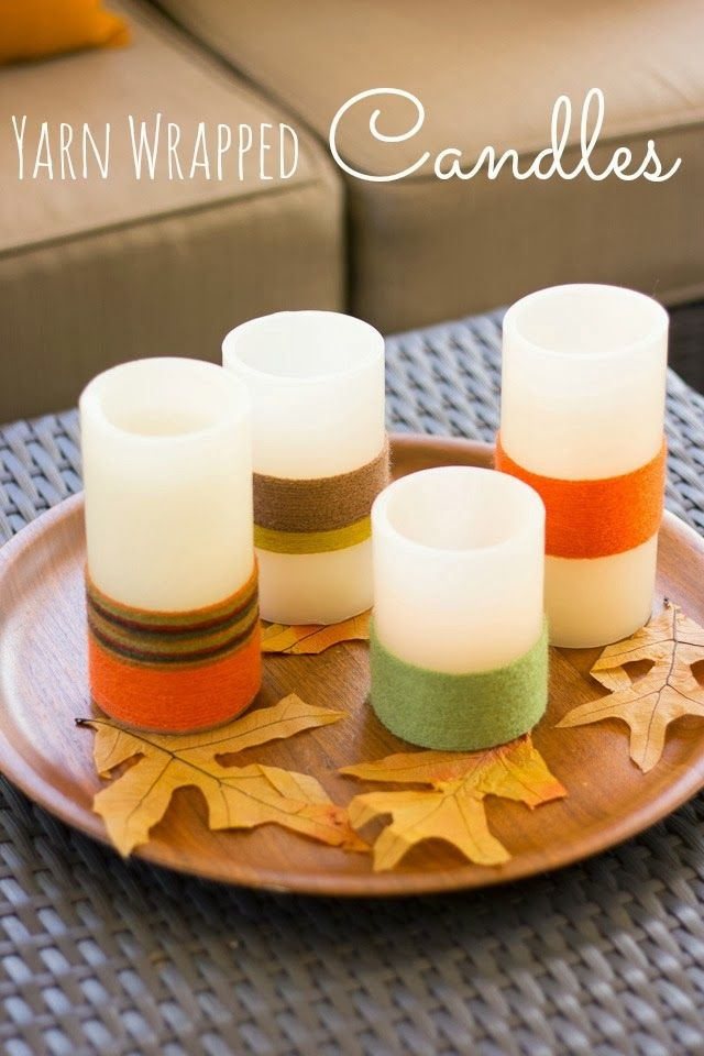 Yarn Wrapped LED Candles, a nice touch of fall for your home decor.