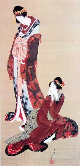 """""""Two beauties"""" by KATSUSHIKA Hokusai (1760-1849), Japan 葛飾 北斎 二美人図  El artista que me ha tocado es Katsushika Hokusai (葛飾 北斎), conocido simplemente como Hokusai (北斎) (Edo, actual Tokio, 31 de octubre de 1760 - 10 de mayo de 1849) fue un pintor y grabador japonés, adscrito a la escuela Ukiyo-e del periodo Edo. Es uno de los principales artistas de esta escuela conocida como «pinturas del mundo flotante»."""
