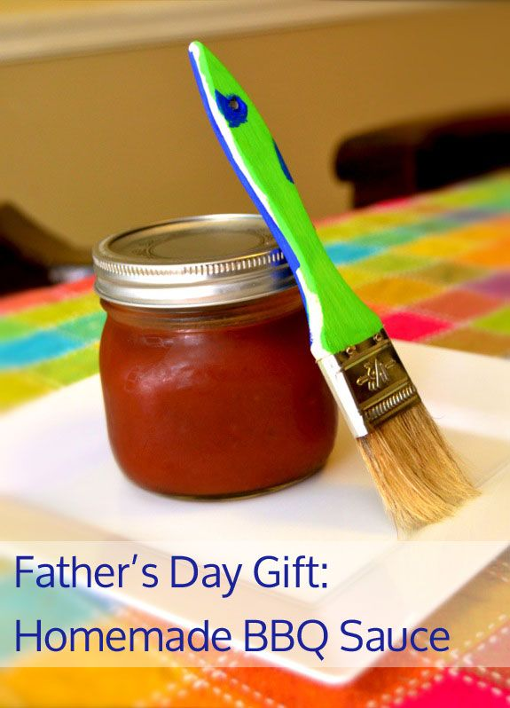 Father's Day Gift Kids Can Make -- Homemade BBQ Sauce... Did this for Ricky from Payton and he absolutely loved it.  The BBQ sauce tastes good too!