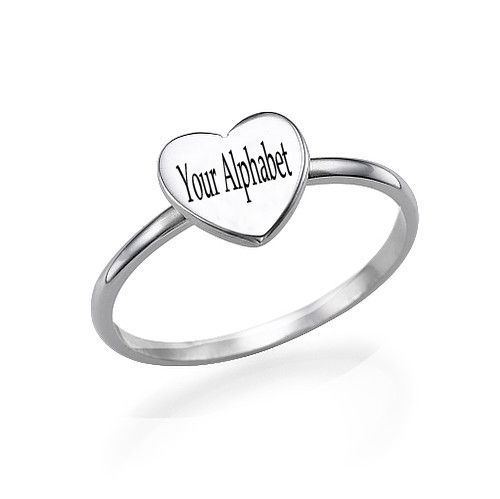 Write Your Name Alphabet on Silver Heart Initial Ring.Silver Heart Initial Ring with Your Alphabet images.Create A Jewellery With Alphabet Online For Free.