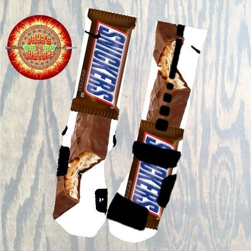 Nike Elite Socks decorated with Snickers Candy Bar by SockoSocks