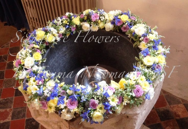 #church #font #décor  #floralgarland #christening #flowers #pastels #summer  Quainton Church Font Décor for Summer Christening 2013. (c) Signature Flowers by Emma Newman
