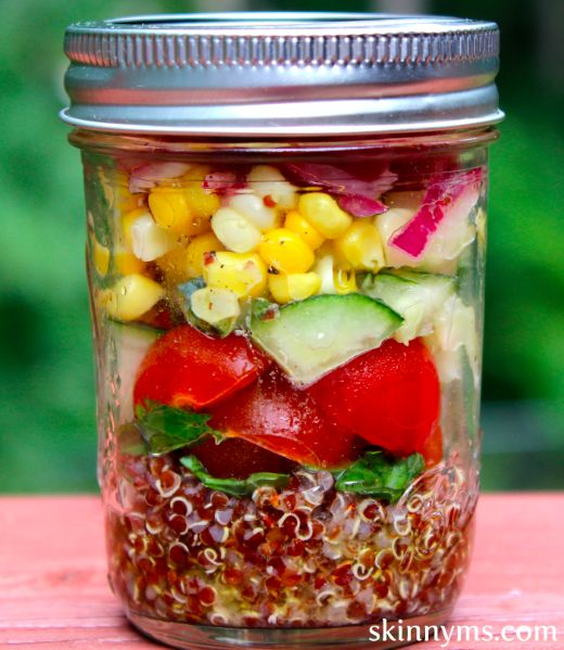 Mediterranean Quinoa Salad in a Jar - I make this salad on Sunday and have for lunch on Meatless Mondays.