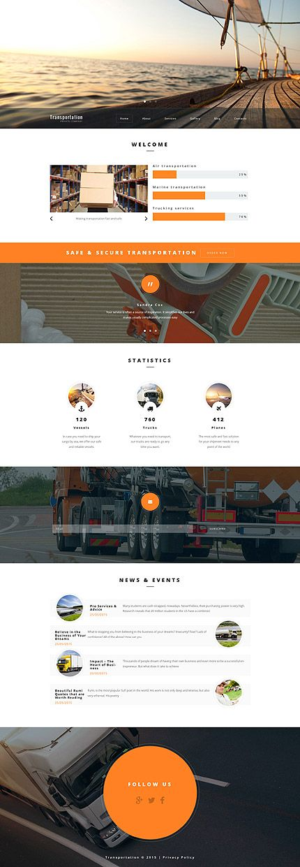 Transportation website inspirations at your coffee break? Browse for more WordPress #templates! // Regular price: $75 // Sources available: .PSD, .PHP, This theme is widgetized #Transportation #WordPress