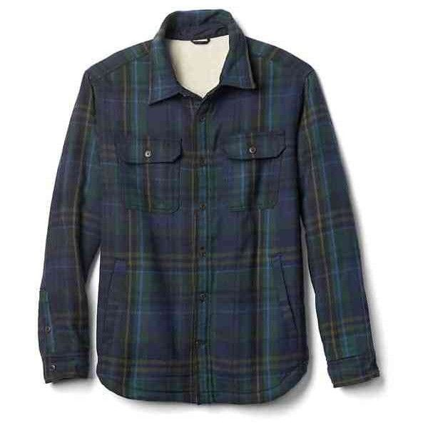 Gap Men Plaid Sherpa Lined Shirt Jacket ($94) ❤ liked on Polyvore featuring men's fashion, men's clothing, men's outerwear, men's jackets, blue plaid, tall, mens plaid jacket, tall mens outerwear, tall mens jackets and gap mens outerwear