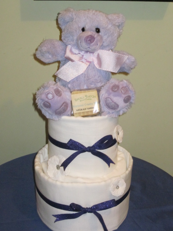Purple and White Nappy Cake