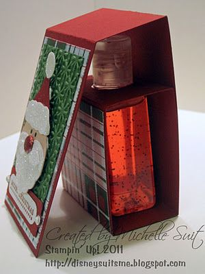 Santa hand sanitizer gift holder. Clever, cute, and inexpensive gift to make and share with all those you want to gift at a Christmas time.