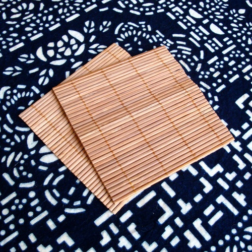 Nakali Natural Bamboo Coasters Cup Pad Set 2 pc Square 4*4 Inches Place Mats