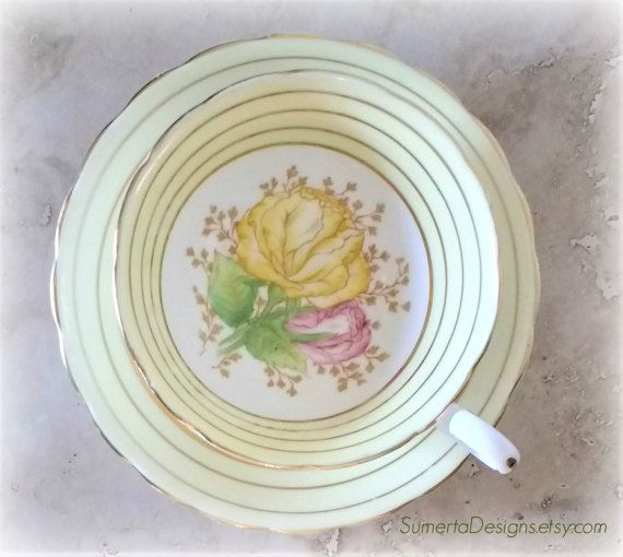Victoria tea cup  yellow floral tea cup  pale by SumertaDesigns