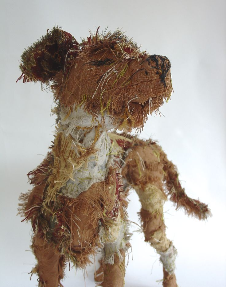 detail of 'Rufus' the fabric dog