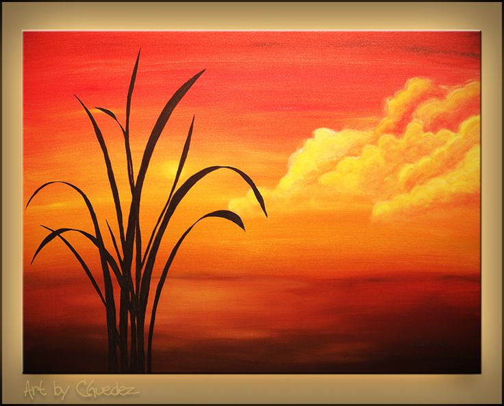 easy acrylic painting on canvas sunset palm landscape