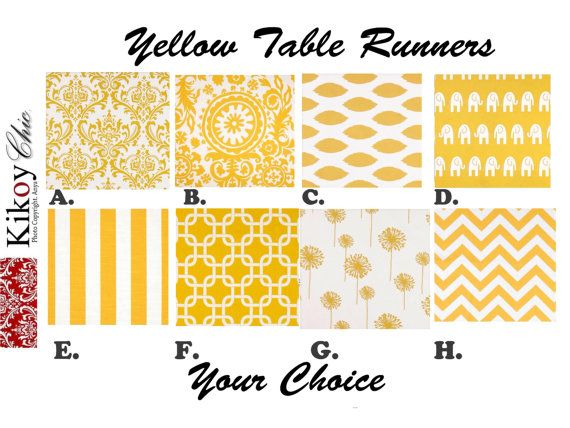"Yellow Table Runner.Yellow Chevron Table Runner. Chevron Table Runner .Yellow Placemats. 48"", 60"",72"",84"",96"" Runner or 12 x 18""Placemat."