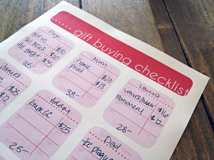 Printable gift buying checklist... this will come in really handy for Christmas shopping especially black friday!