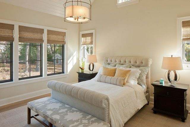 Upholstered Sleigh Bed Bedroom Transitional with Area Rug Baseboard Bolster Drum Shade Pendant Ivory Walls