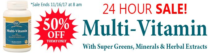 24 HOUR SALE! Multi-Vitamin with Super Greens is 50% OFF. Sale Ends 11/16/17 at 8 am EST. http://www.baar.com/multi-vitamin-with-super-greens #sale #supplements #vitamins