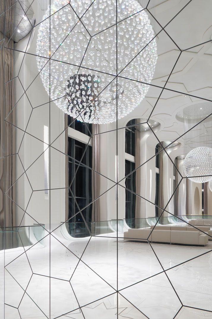 Geometric cut mirror and globe lighting Interior Design