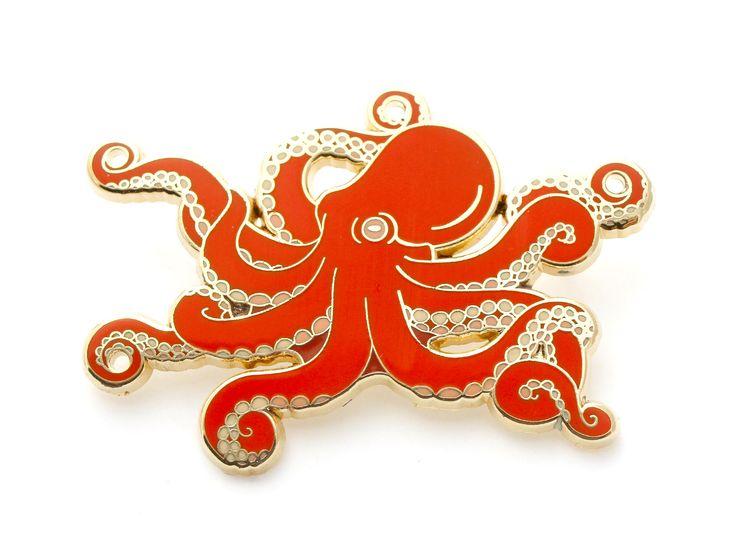 Red octopus enamel pin (hard enamel pin lapel pin badge enamel cute octopus jewelry cephalopod octopus jewelry cloisonne backpack pin) by OhPlesiosaur on Etsy https://www.etsy.com/listing/514091697/red-octopus-enamel-pin-hard-enamel-pin