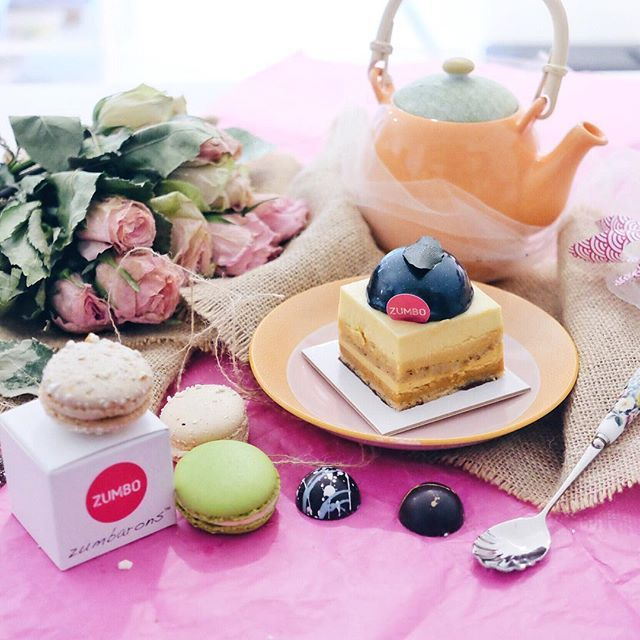 "When Zumbo Cake is ""Just A Stone's Throw Away"" from where I live ☺️ Enjoying my afternoon and this Yuzu Mousse, Caramel Hazelnut Bavaroise, Hazelnut Dacquoise, Yuzu Caramel Cremeux, Salted Mandarin Caramel Creme, Mandarin Gel with cups of tea  #letsnomnomSydney #zumbo #justdessertsAU #zumbarons #foodporn #foodpic #sweettooth #macarons"