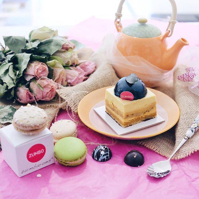 "When Zumbo Cake is ""Just A Stone's Throw Away"" from where I live ☺️ Enjoying my afternoon and this Yuzu Mousse, Caramel Hazelnut Bavaroise, Hazelnut Dacquoise, Yuzu Caramel Cremeux, Salted Mandarin Caramel Creme, Mandarin Gel with cups of tea  #letsnomnomSydney #zumbo #justdessertsAU #zumbarons #foodporn #foodpic #sweettooth #macarons"