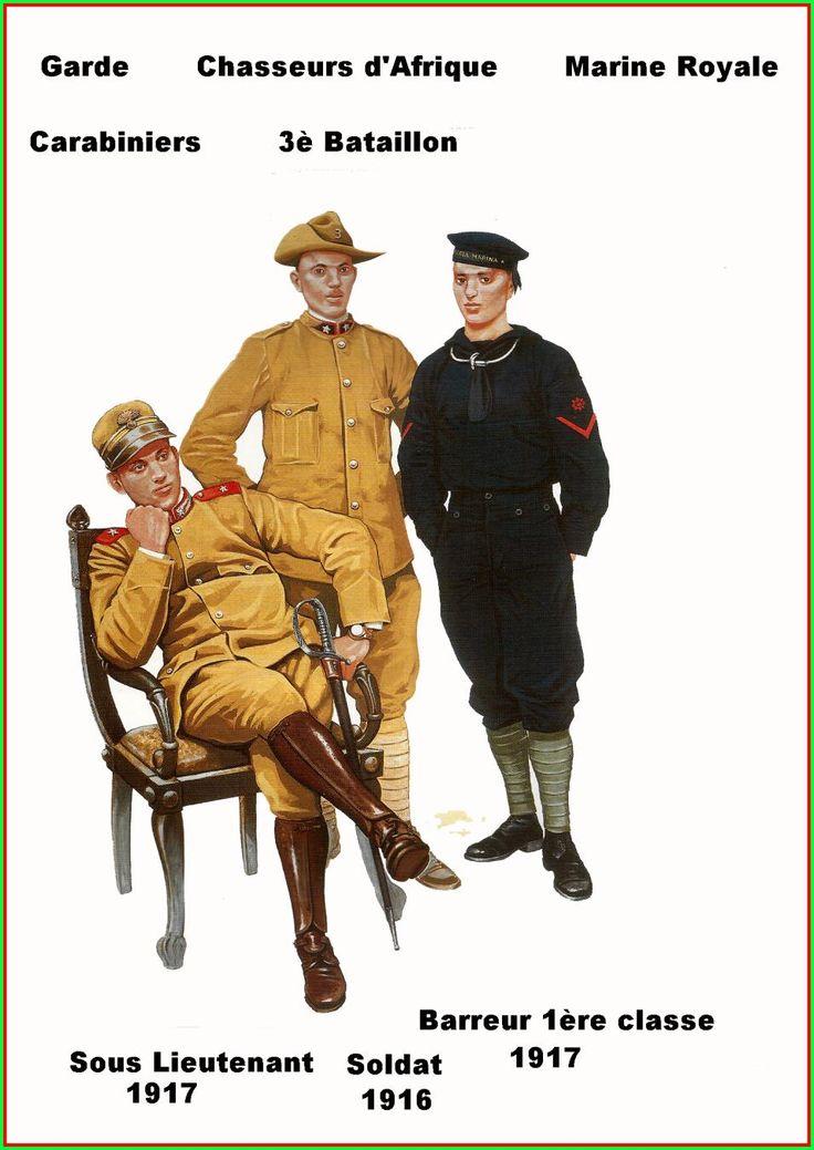 Regio Esercito - Sottotenente dei Carabinieri Reali, 1917 - Soldato del 3° Battaglione Cacciatori d'Africa, 1916 - Marinaio di Prima classe, 1917