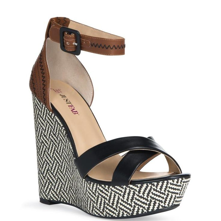 Geo-print raffia wedge with contrasting faux-leather upper and stitched  design on the counter. Super tall with ankle strap for a secure fit.
