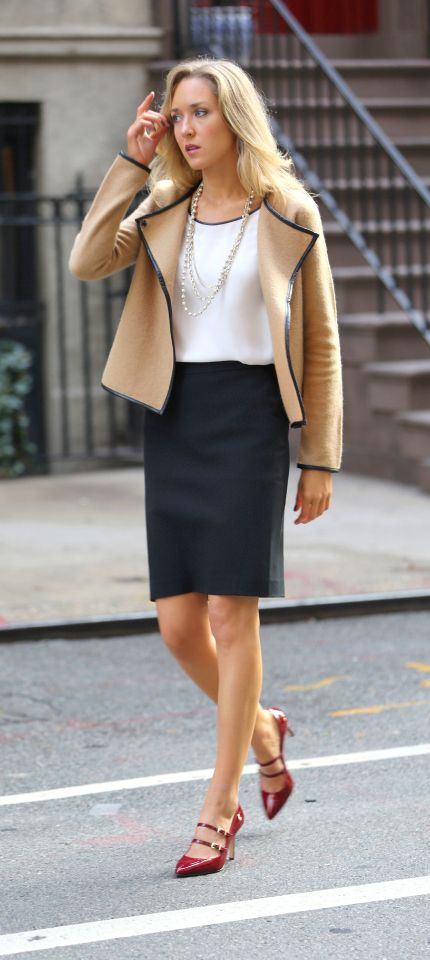 The Classy Cubicle: Power Pieces with Ann Taylor. The fashion blog for professional women in need of office style inspiration and work wear ideas for the corporate world and beyond. {ann taylor, power pieces, red mary janes, leather trim camel jacket, black pencil skirt, pearl multi-strang necklace}