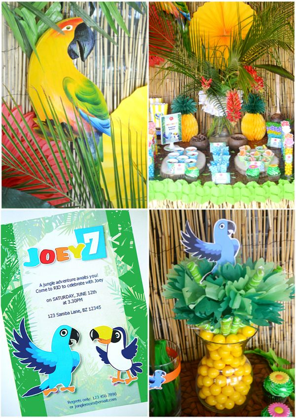 Rio inspired Amazon jungle birthday party printables and supplies
