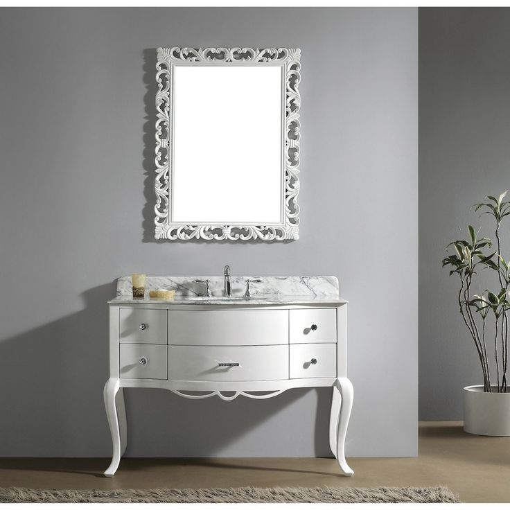 Pic Of Buy the Virtu USA charlotte single sink bathroom vanity in white with italian carrara white marble vanity top included from Homeclick free