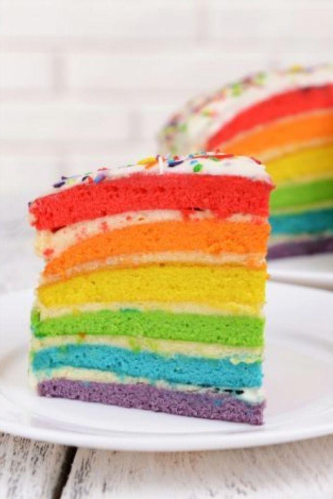 Regenbogenkuchen Mit Frischkase Fur Kindergeburtstag Foodtempel Rezept In 2020 Kuchen Ideen Regenbogen Kuchen Cupcake Rezepte
