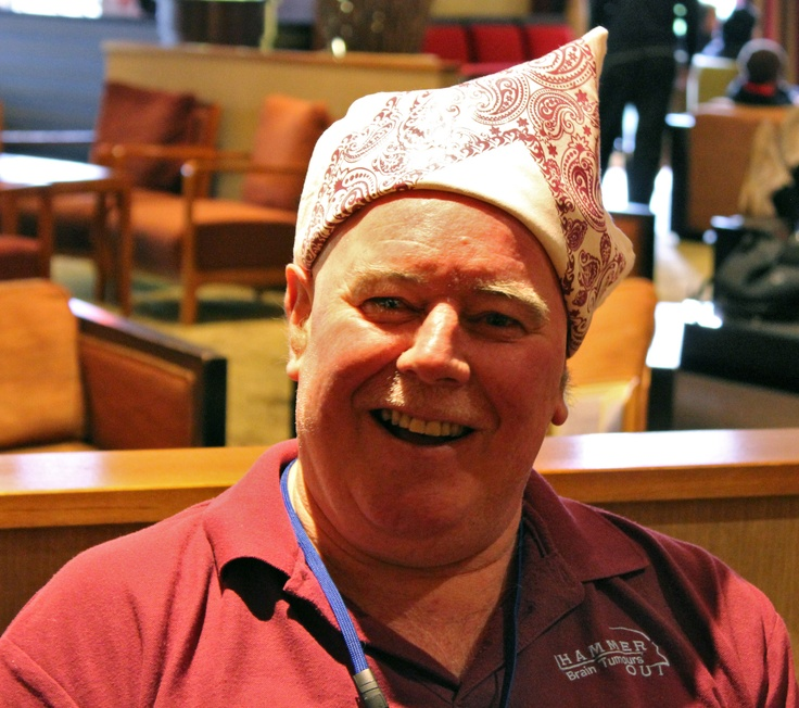 I'M WEARING MY BANDANA BECAUSE I'm fighting a brain tumour & Hammer Out is there to support me  ~  Peter